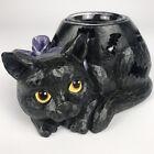 Halloween Black Cat Votive Candle Holder Luminary w/ Bat Cut-Outs