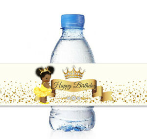 25 Yellow African American Princess Water Bottle Labels for Baby Shower Birthday