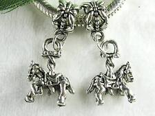 2 x Adorable Tibetan Silver Carousel Horse Dangle Charms for European Jewelry