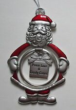 ID Peace Love Candy Canes 3D Santa Claus Christmas Ornament Ganz Car charm