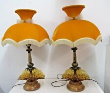 Two L.E. Smith Moon & Stars Lamps Vintage Amber BANANA BOAT VICTORIAN shades