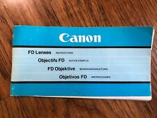 Canon FD Lenses instruction booklet 1981 Manual User Guide