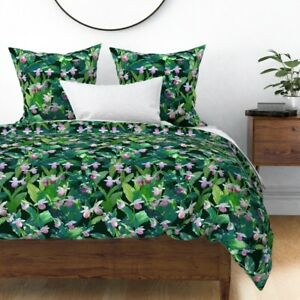 Tropical Floral Polka Dot Green Watercolor Spring Sateen Duvet Cover by Roostery