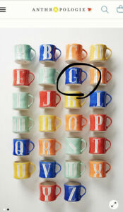 """NEW Anthropologie Hand Painted Initial Letter """"G"""" Blue Ceramic Coffee Mug"""