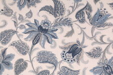 Briswell Chambray Richloom Floral Print Upholstery Fabric Bty Cream Blue Grey