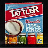 TATTLER Reusable WIDE MOUTH Canning Lids & Rubber Rings BPA FREE - Bulk 1 Dozen