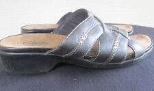 Women's CLARKS Bendables Slip-On Sandals Slides Dark Brown Leather Size 7.5M