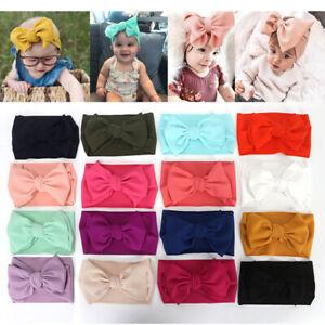 Cute Newborn Baby Turban Headwraps Big Bow Knot Girl 100% Cotton Wide Headbands