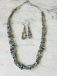 Mary Aguilar Heshi Turquoise Necklace earring Set Sterling Signed Coral Onyx