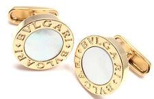Authentic! Bvlgari Bulgari 18k Yellow Gold Mother Of Pearl Cufflinks