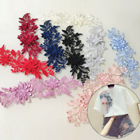 1 Pair Applique 3D Lace Flower Embroidery Patches Trim Sewing DIY Crafts Wedding