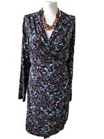 Joe Browns Black Mix Floral  V Neck Faux Wrap 3/4 Sleeved Dress Size 16