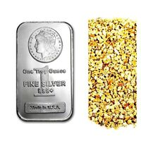 1 TROY OUNCE .999 FINE SILVER MORGAN BAR BU + 10 PIECE ALASKAN PURE GOLD NUGGETS