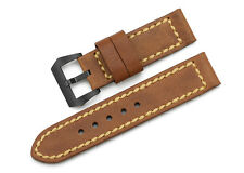 24mm Brown Genuine Leather Wristband Watch Strap Black PVD Buckle For Panerai