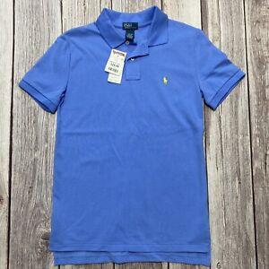 Polo By Ralph Lauren Boys Size L (14-16) Blue Short Sleeve Yellow Logo Shirt NWT
