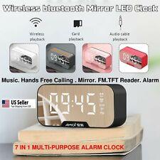 2021 Bluetooth Speaker Outdoor Stereo Bass Digital Led Alarm Clock Tf/Fm Radio