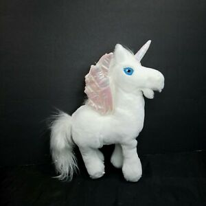 "Neopets Uni Unicorn White Plush Iridescent Shiny Wings 11"" Stuffed Animal Pony"