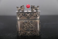 COLLECTION ANCIENT CHINA CARVED DRAGON TIBETAN SILVER TOBACCO BOX KYLIN LID