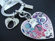 Coach Poppy Multi Graffiti Enamel Paved Crystal Heart Key Ring Fob Keychain NWT