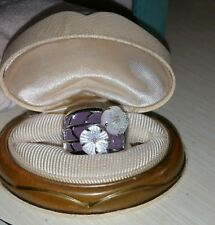 Ross Simons Sterling Silver Purple Jade & mother pearl Flower diamond wide Ring