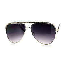 RHINESTONE TOP Celebrity Women's AVIATOR Sunglasses SILVER