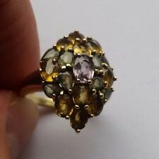 stunning 9ct Gold Citrine, Peridot and Amethyst Ring size L