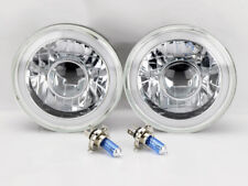 "7"" Round Projector H4 CCFL Halo Glass Headlight Conversion w/ Bulbs Pair Chevy"