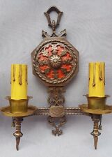 Pair Patinated Bronze Sconces, 1920s-30s, Dragon Profiles, New Wire & Candles