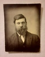 Vintage Old 1920's Small Photo of American Man with Huge Bushy Beard & Mustache