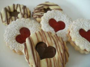 1kg Selbstgebackene  Kekse,  Gebäck,Plätzchen mit Noussnougat und Erdbeere