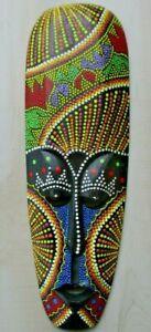Tiki Mask Tribal Aboriginal Art Decor dot Wood Bali Colorful wall hanging Hut