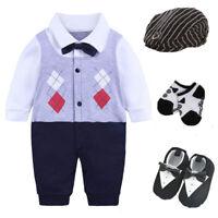 Newborn baby boy party birthday gift bodysuit+hat+socks+shoes baby Easter gift