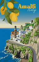 Vintage Poster Print canvas painting Visit Amalfi lemons Italy travel  A1 A2 A3