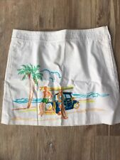 "$88 J Crew NEW 8 16"" Mini Skirt Beach Scene Surf Board A Line Pockets Cotton"