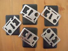 Lot of 5 Credit Card 11-in-1 Multi Tool; Wallet Pocket Survival Knife Pouch #190