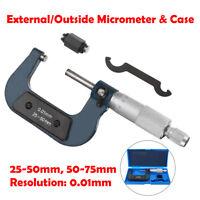 25-50 mm, 50-75 mm Métrique externe / Micromètre extérieur, mesure et boîtier