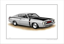 VALIANT VH R/T CHARGER  E38 LIMITED EDITION CAR DRAWING PRINT  (6 CAR COLOURS)