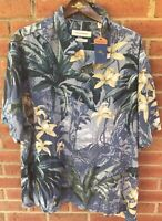 $128 TOMMY BAHAMA MEN JUNGLE GARDENS HAWAIIAN CAMP ALOHA BLUE SILK SHIRT XXL 2XL
