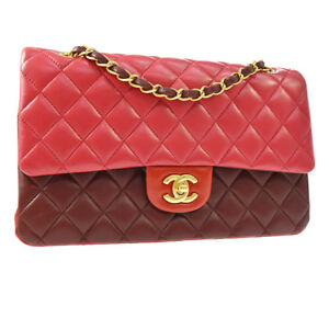CHANEL Classic Double Flap Medium Chain Shoulder Bag Red Leather NR12970i