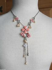 Pink Enamel Flower pearl and crystal Necklace