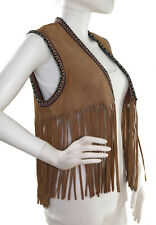 Vtg Suede Cowhide Tan Leather Vest with Long Fringe and Woven Trim, Size Small