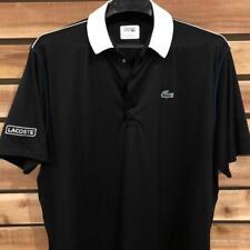 EUC Mens Black/White Lacoste Sport Snap Ultra Dry Athletic Polo Shirt Sz 8 2XL