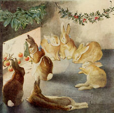 Rabbits Christmas Party, After the Meal  by Beatrix Potter   Paper Print Repro
