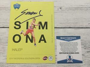 Simona Halep Signed Autographed 5x7 W&S Card Beckett BAS COA d