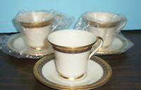 LOT OF 3 LENOX TUDOR CUPS AND SAUCERS NEVER USED FREE U S SHIPPING