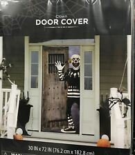 """Halloween Scary Clown Door Cover or Wall Decoration 30"""" X 72"""" Scene Setter"""
