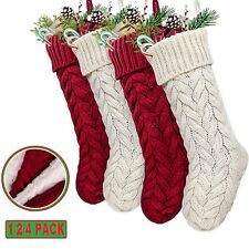 18in Large Size Cable Knitted Christmas Stocking Burgundy Red & Cream White Xmas