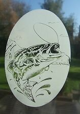 """Frosted glass look WIDEMOUTH BASS decoration 8""""x12"""" / 20x28cm"""