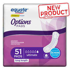 51 Ct Women Incontinence Pads Ultimate Absorbency Long Cotton Bladder Control