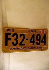 Vintage 1954 Wisconsin Mini Replica License Plate promo quaker oats
